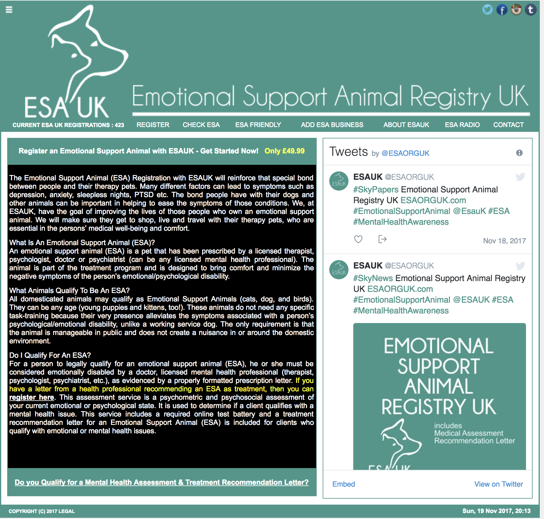 Emotional Support Animal Registry UK
